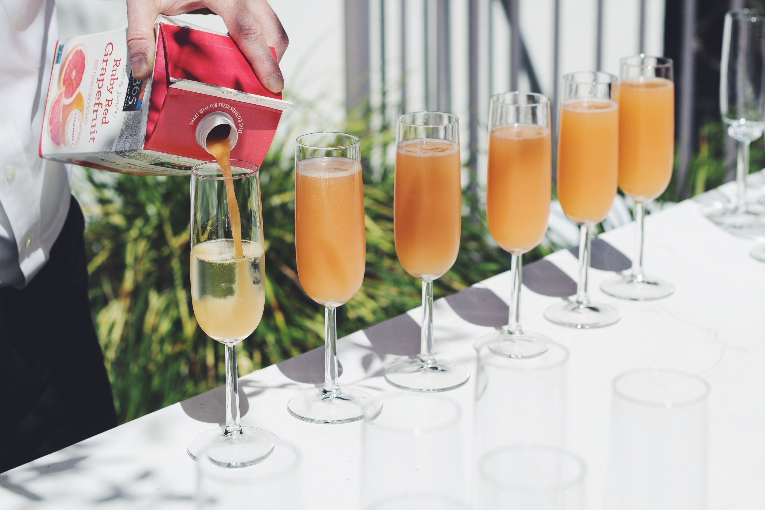 The ultimate brunch drink: Grapefruit Mimosas with a splash of St. Germain.