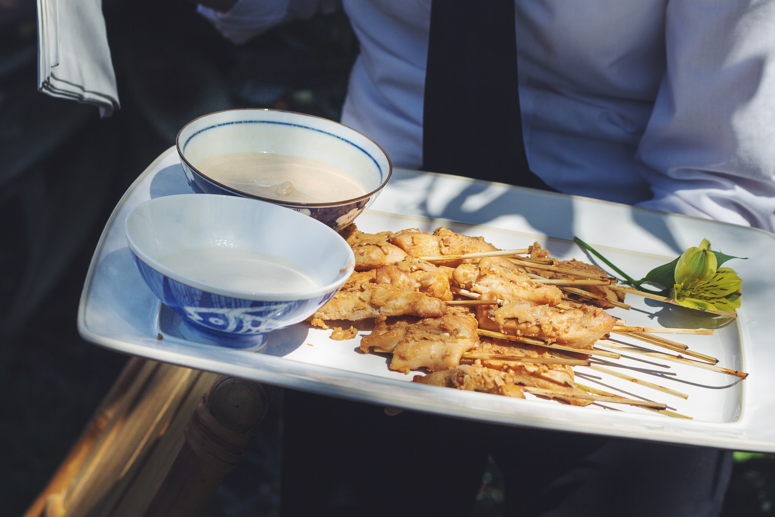 Chicken Skewers with the choice of Coconut Milk or Peanut sauce.