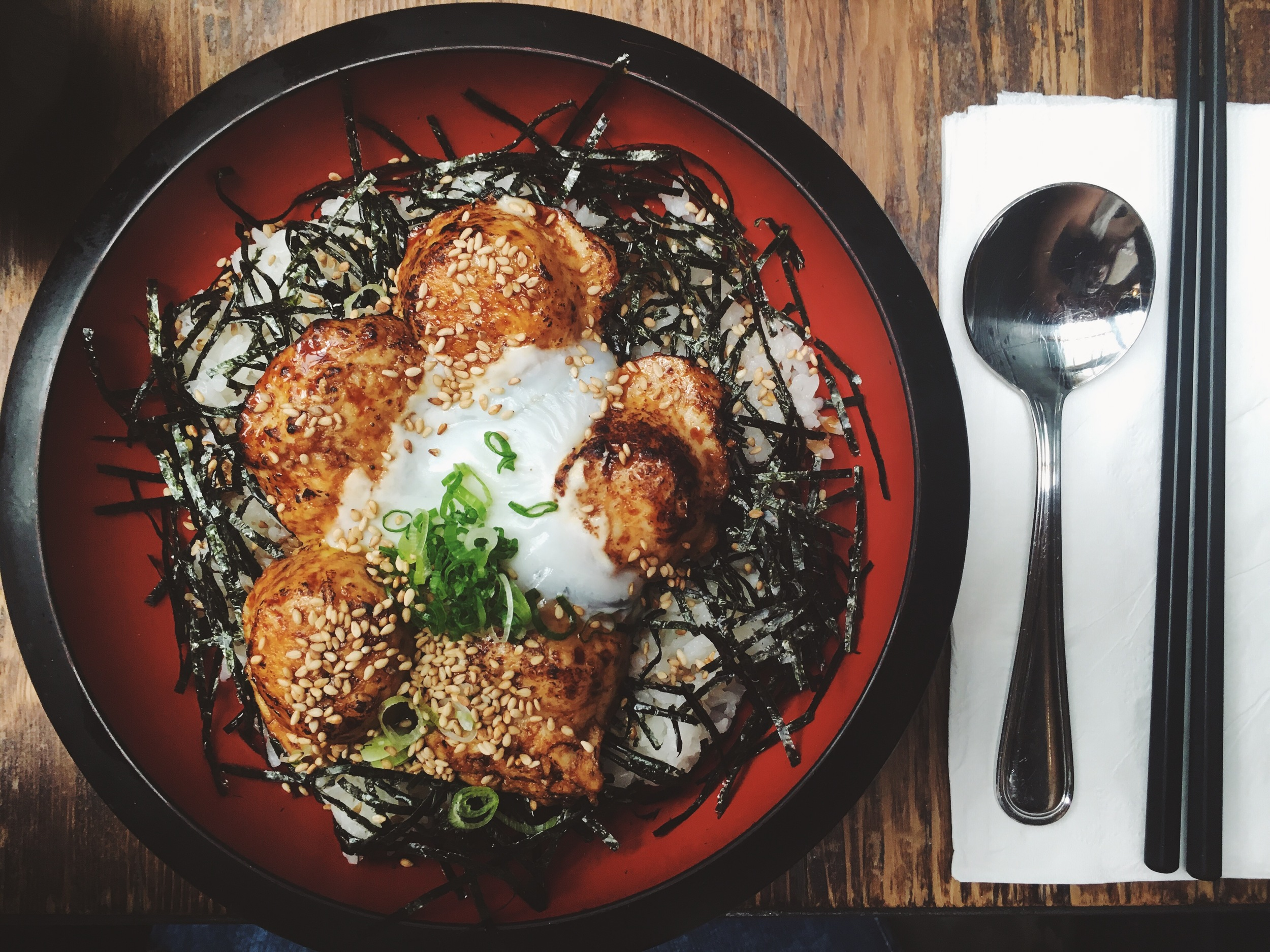 """Tsukune Don""   - Japanese chicken meatball with teriyaki sauce, nori, scallion, sesame, and soft egg over rice, served with miso soup at   House of Small Wonder"