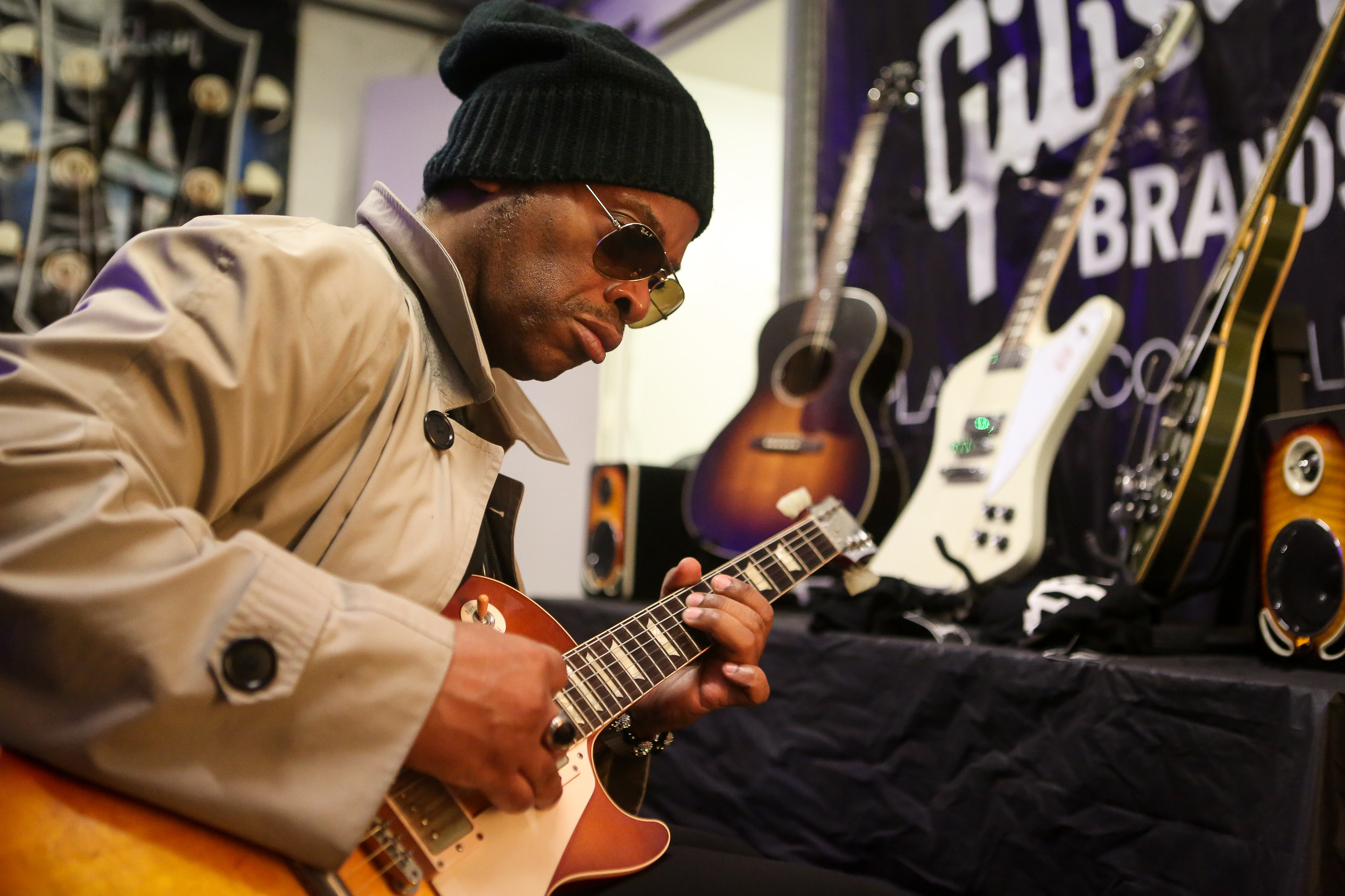 jesse johnson (the time), backstage in the gibson tent
