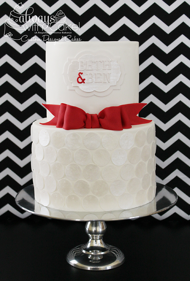 Sequins and Bow Wedding Shower Cake