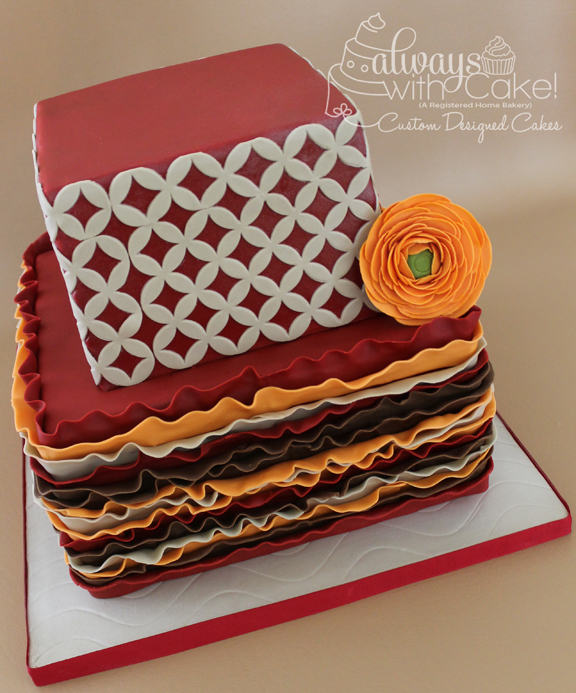Ruffles & Quarterfoil Wedding Cake