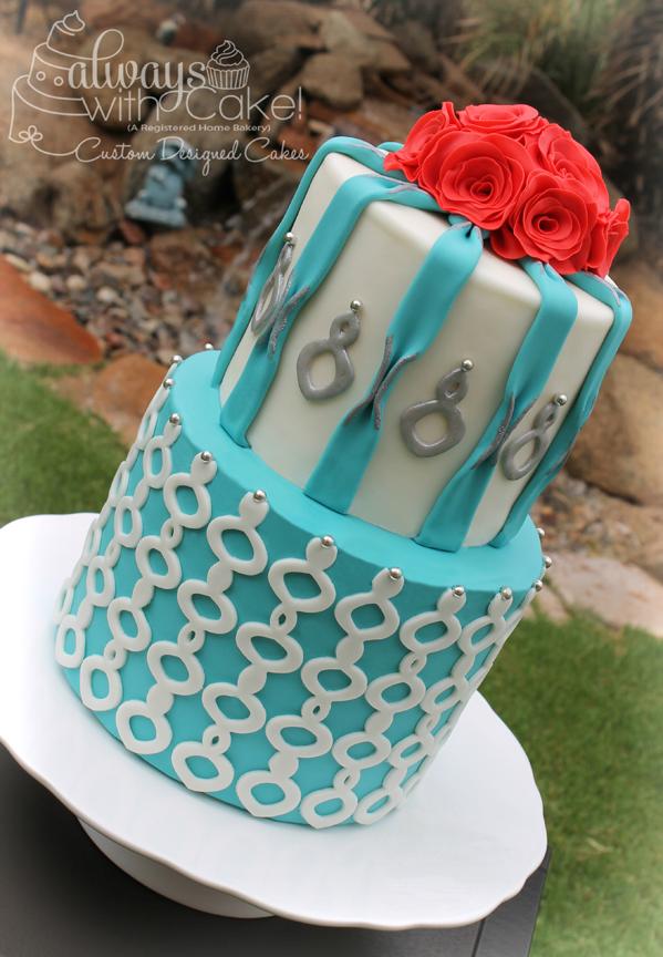 Tiffany Blue & Quatrefoil Wedding Cake