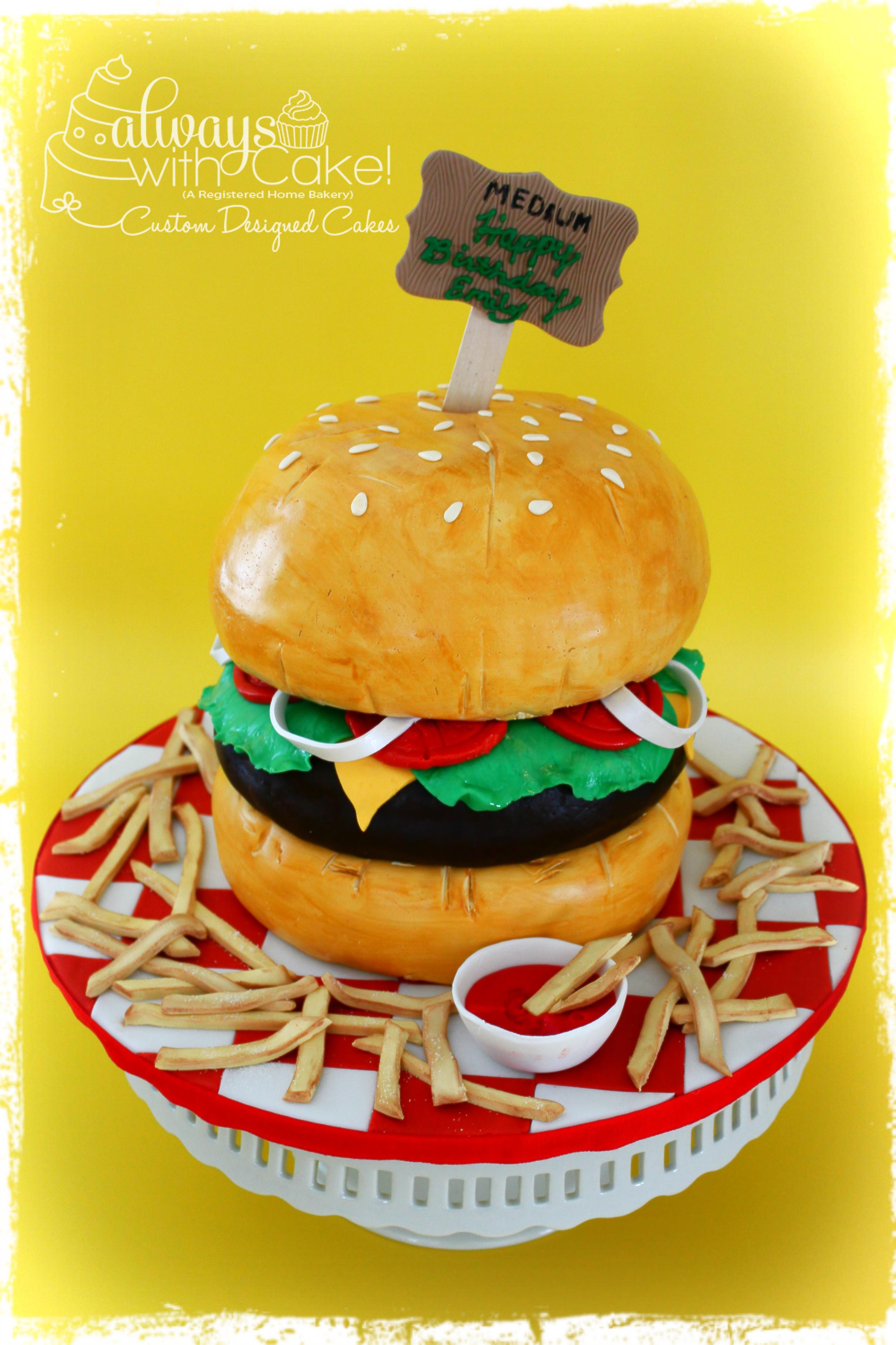 Hamburger and Fries Birthday Cake