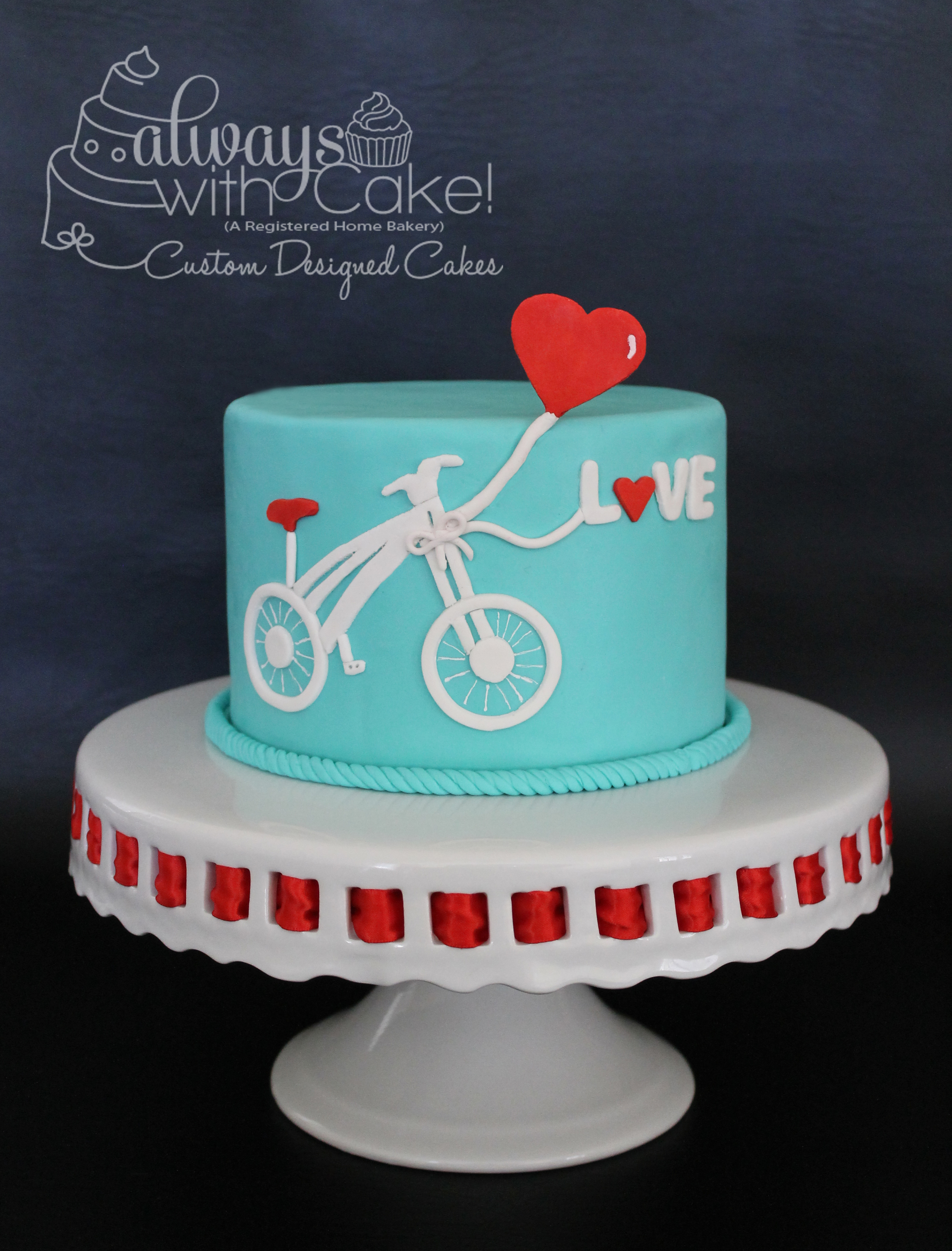Bicycle of Love Valentine's Day Cake