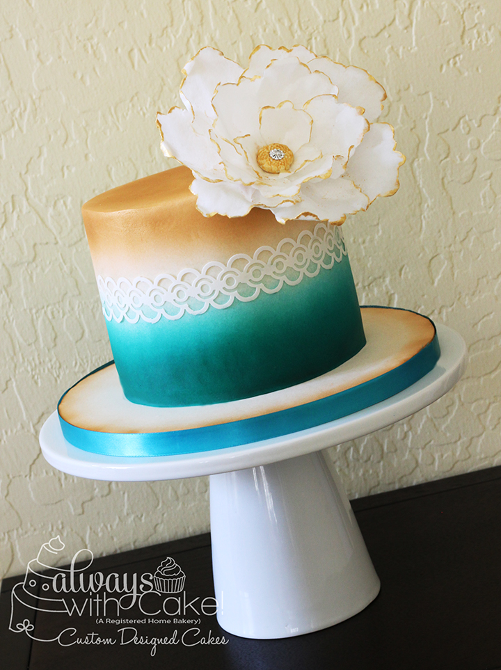 Teal and Gold Airbrushed Cake with Wafer Paper Flower
