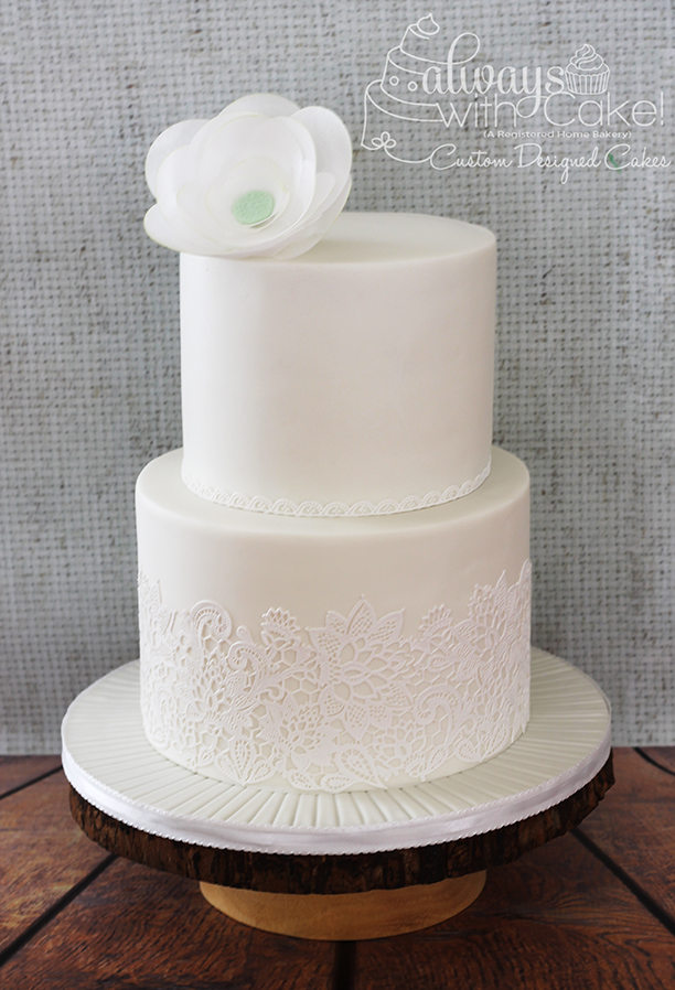Lace and Wafer Paper Flower Wedding Cake