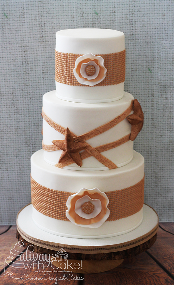 Rustic Burlap Western Wedding Cake