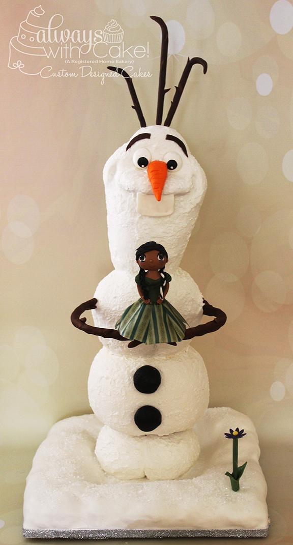 3D Olaf and Princess Anna Birthday Cake