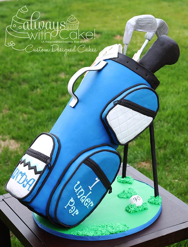 Golf Bag 70th Birthday Cake