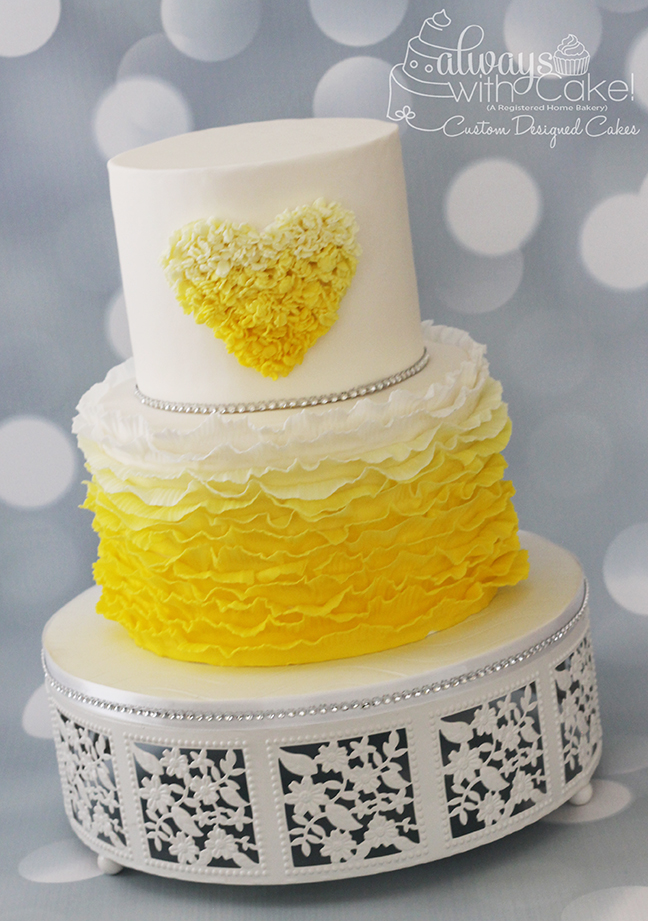 Ombre Ruffles and Heart Cake