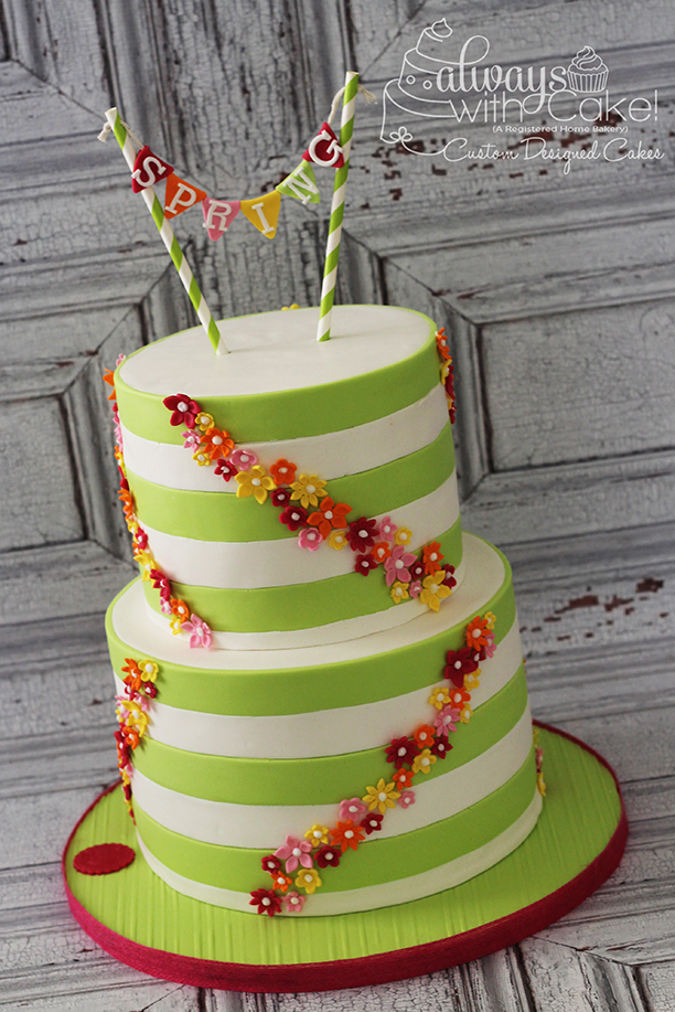 Spring Flowers and Stripes Cake