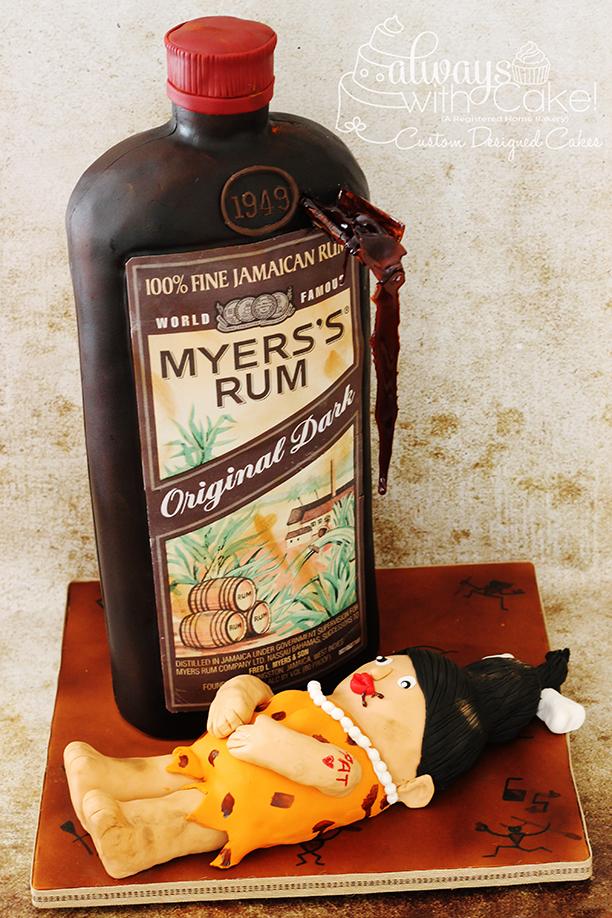 Myer's Rum Bottle w/Cave Woman