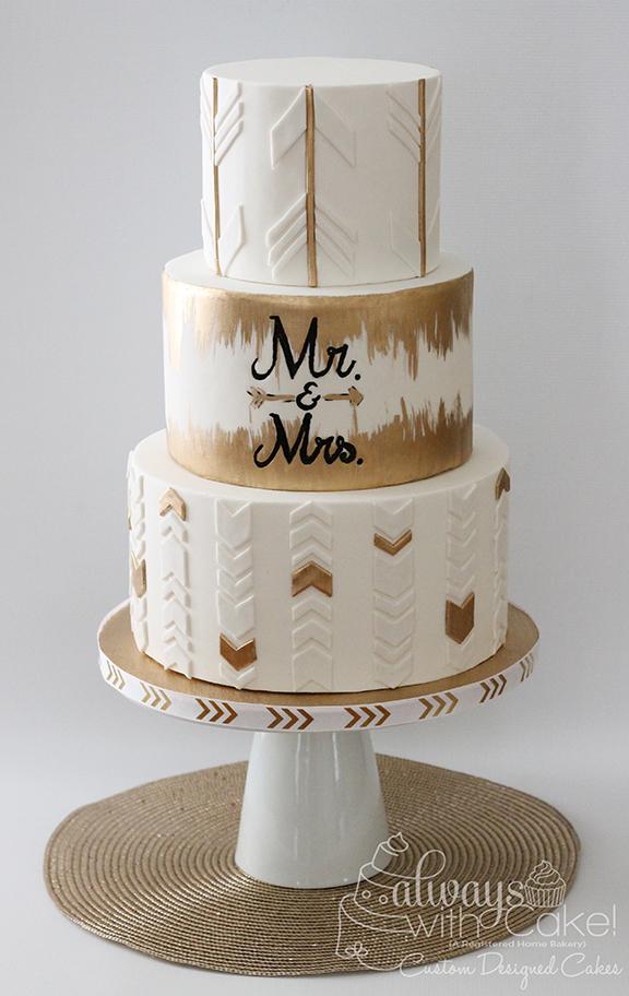Arrows and Chevron Wedding Cake