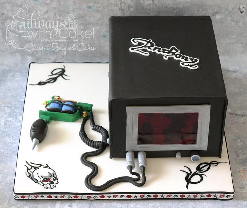 Tattoo Gun and Power Supply Cake