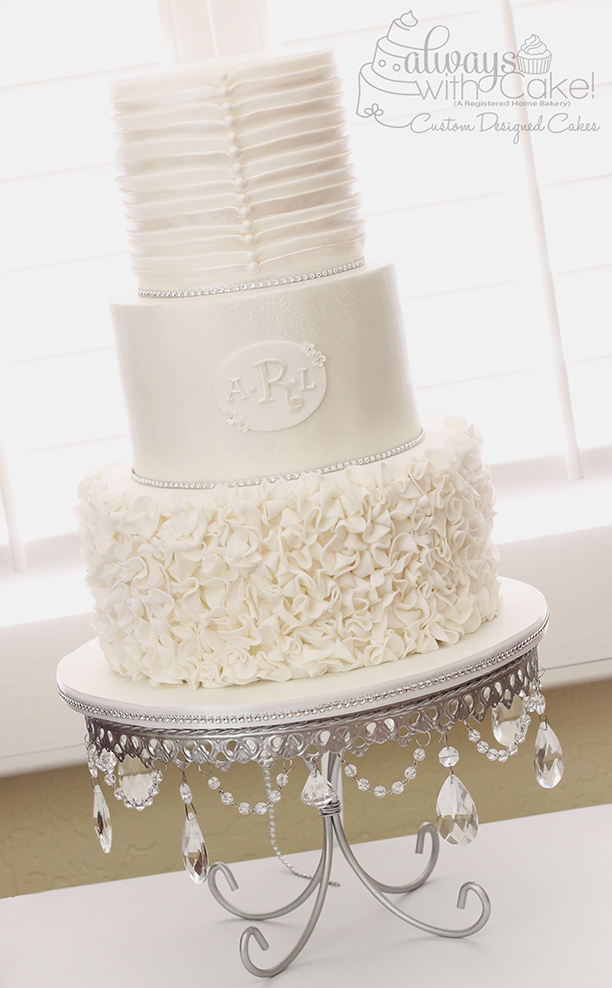Ruffles, Pleats and Pearl Wedding Cake