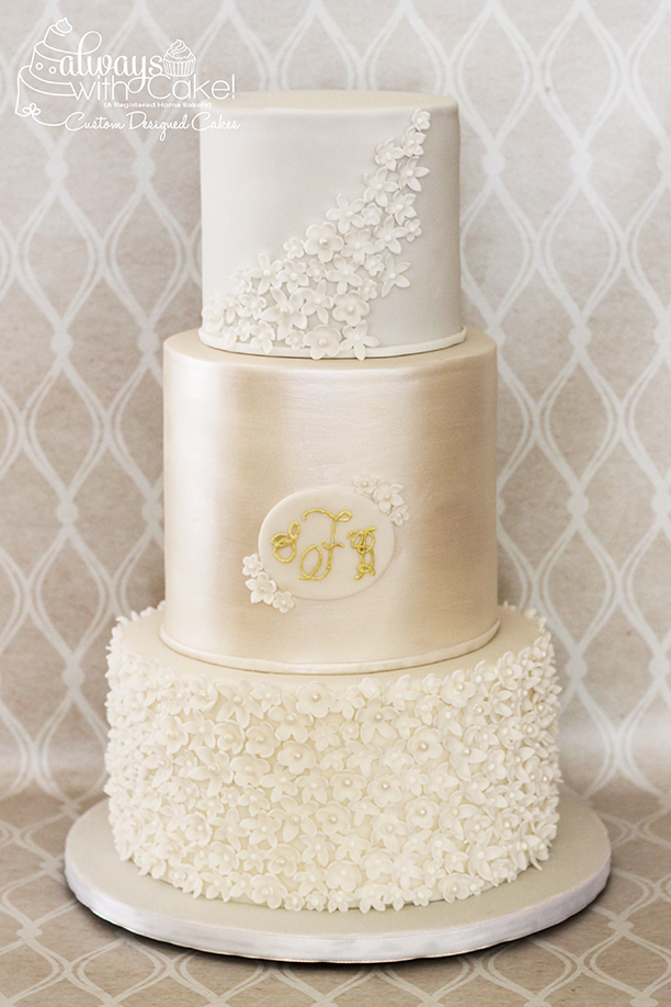 Flowers and Pearl Engagement Cake