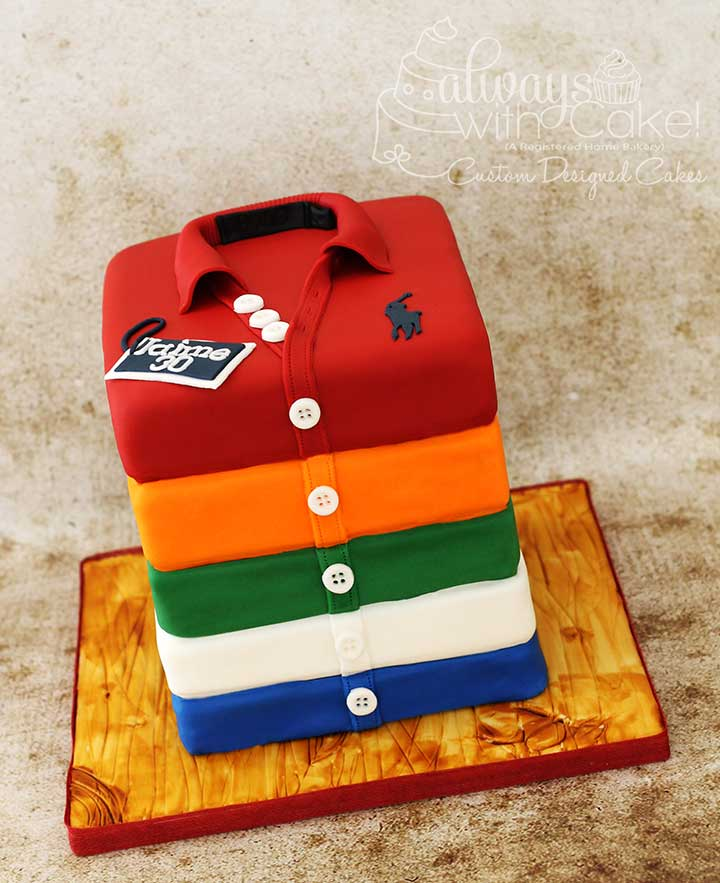 Stack of Polo Shirts Cake