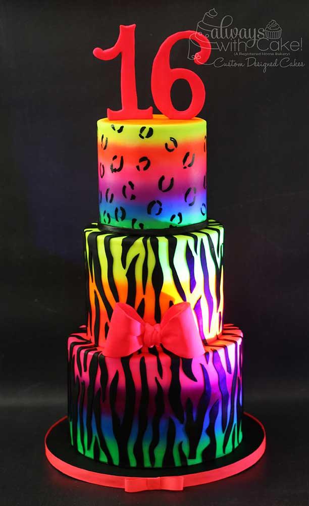 Glow In the Dark Animal Print Cake