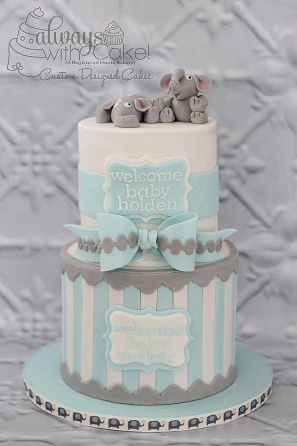 Twin's Baby Shower Cake - Elephants