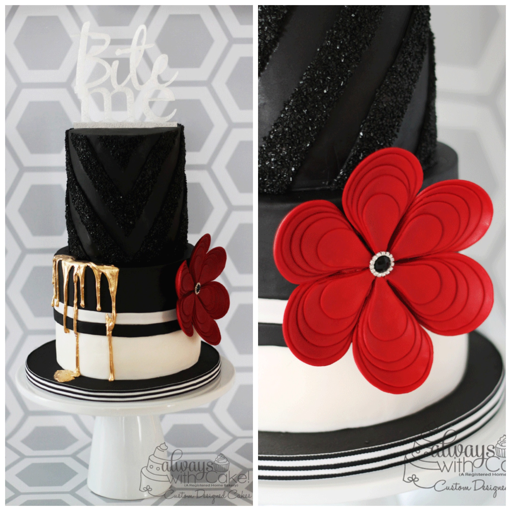 Black and White Cake w/Red Flower