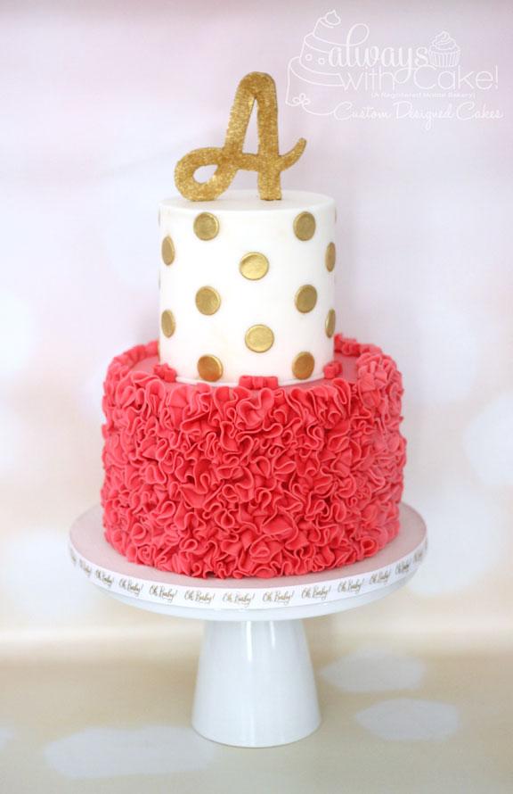 Ruffles and Polka Dot Baby Shower Cake