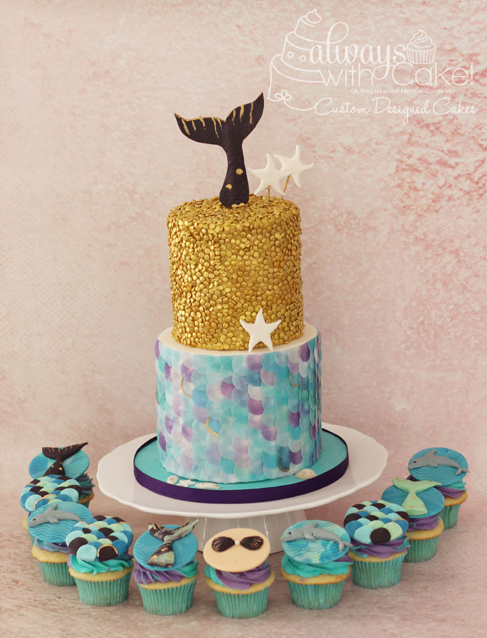 Mermaid Birthday Cake & Cupcakes