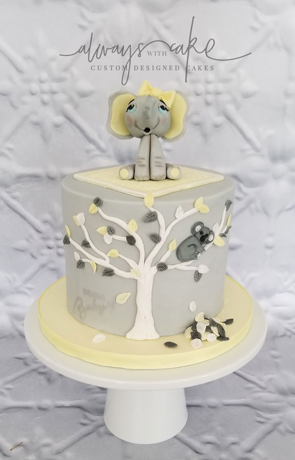 Elephant and Koala Baby Shower Cake
