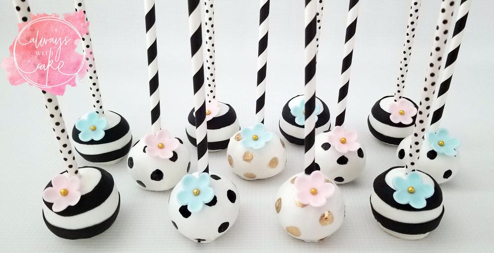 Black and White Baby Shower Cake Pops