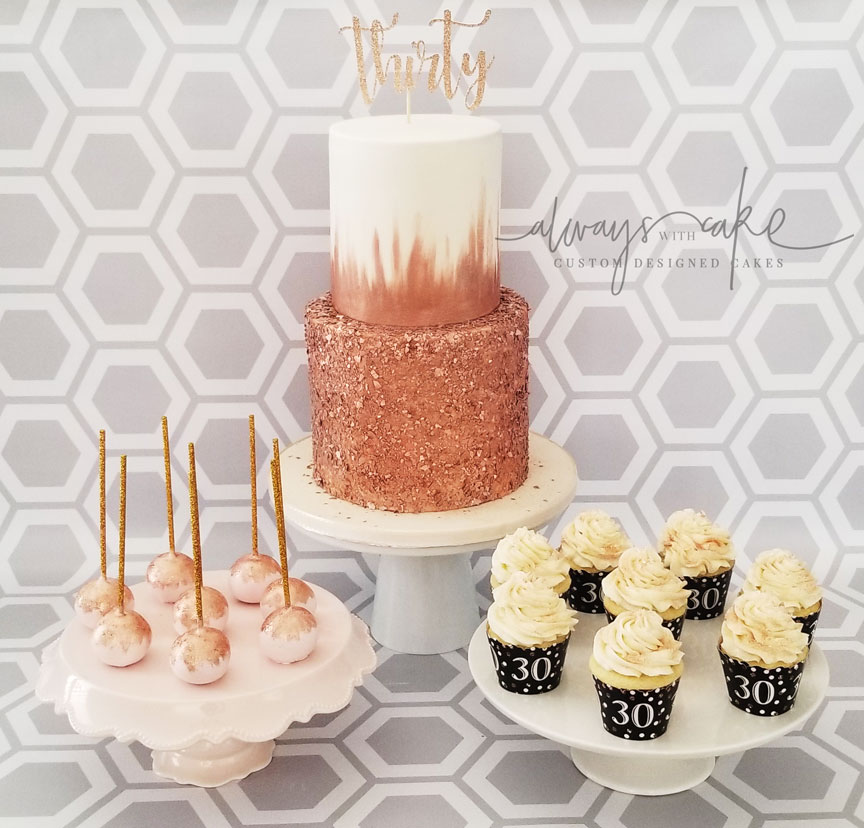 Rose Gold Cake and Desserts