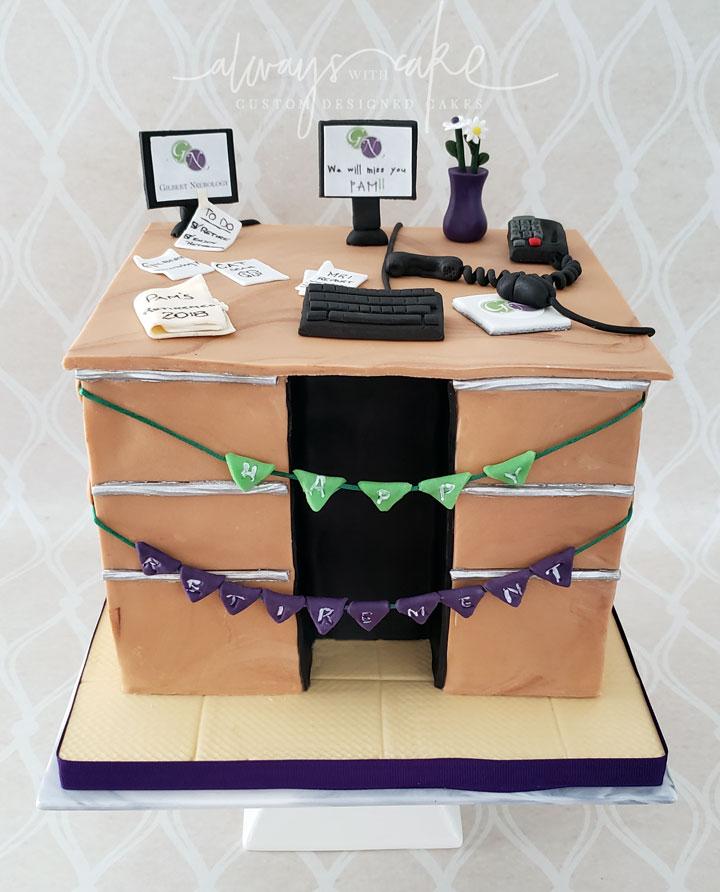 Nurse Retirement Cake - Desk