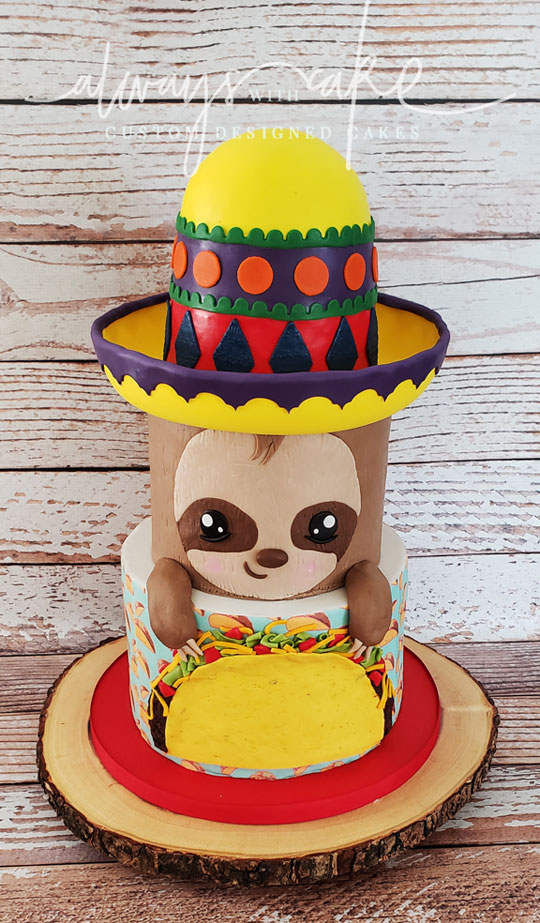 Sloth Eating Tacos Cake