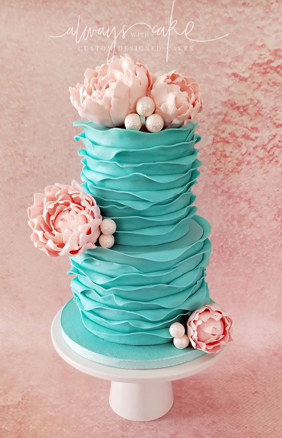 Ruffles and Peonies Cake