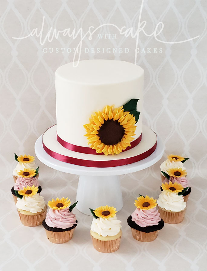 Sunflower Wedding Cutting Cake and Cupcakes