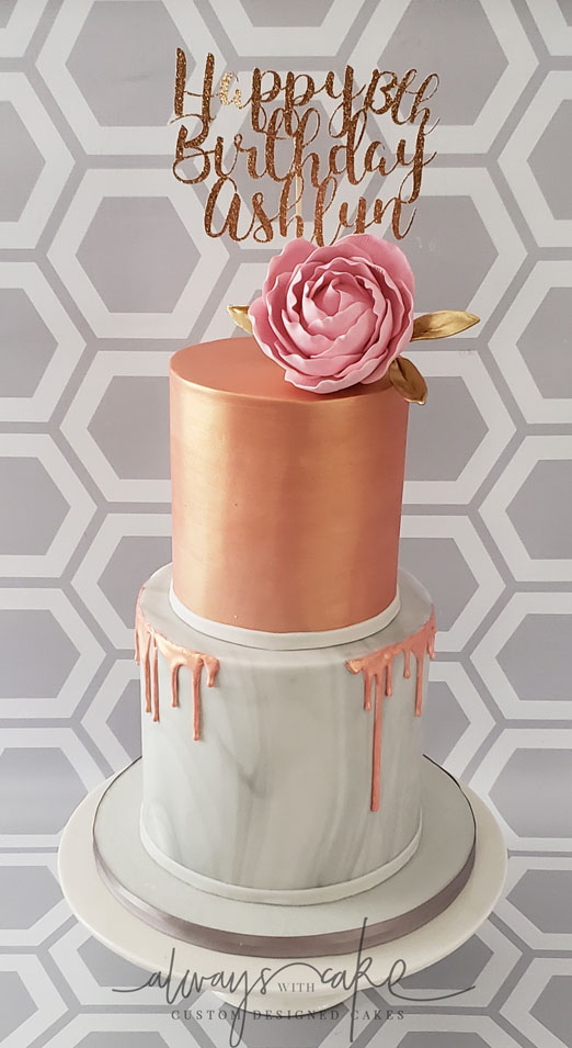 Rose Gold and Marbled Birthday Cake