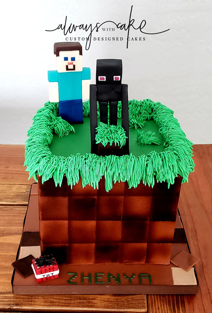 Enderman and Steve Minecraft Cake