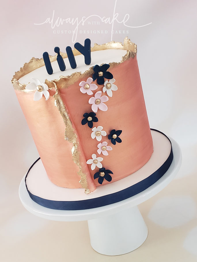 Rose Gold and Navy Cake