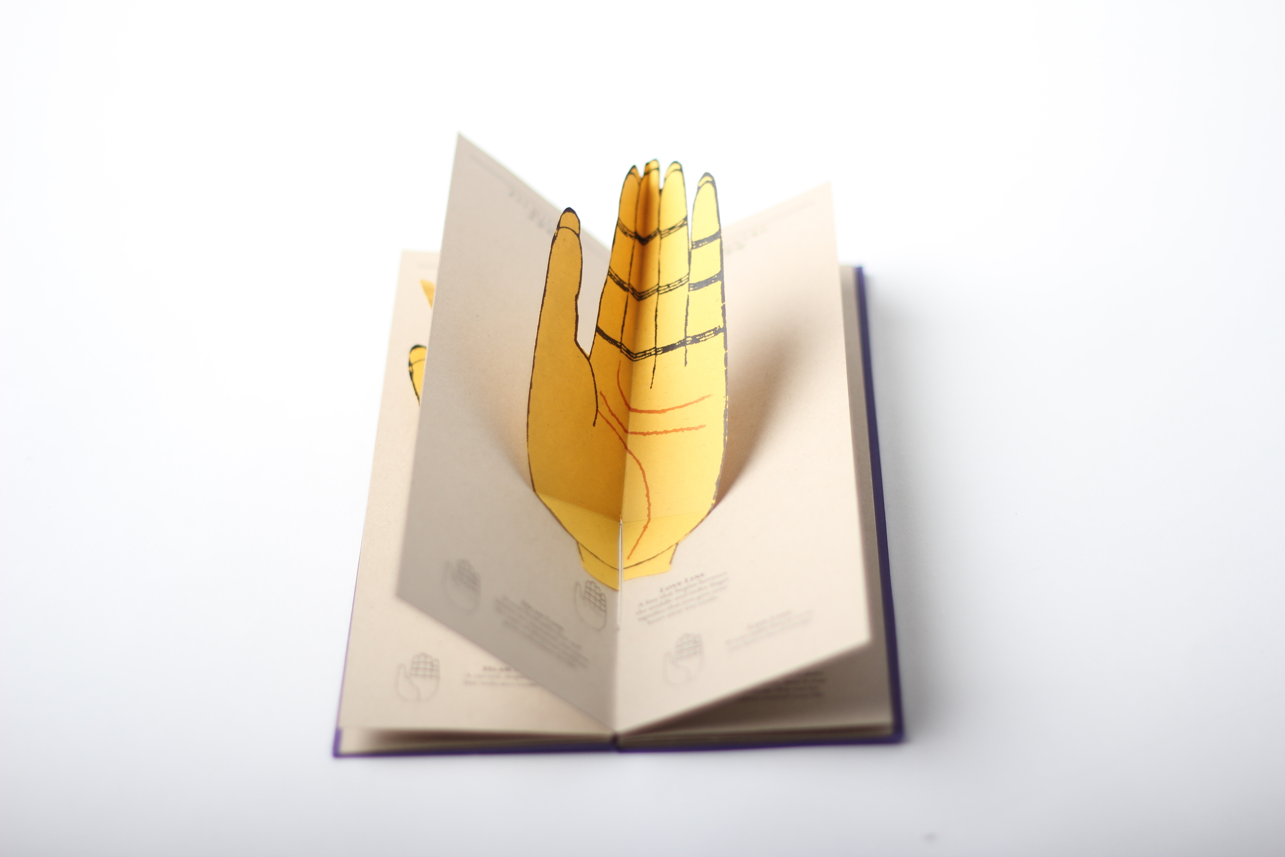 The pop-up device allows the reader to check their palm while reading the book without having to hold it in their palms.