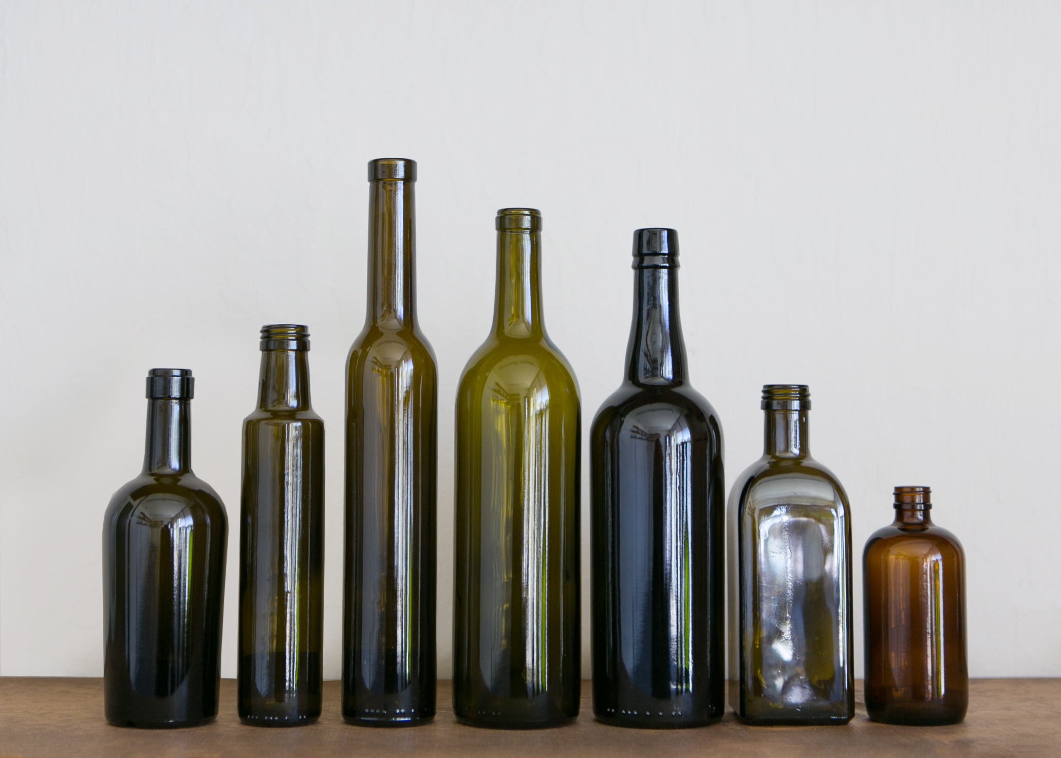 Various glass bottles in a Row