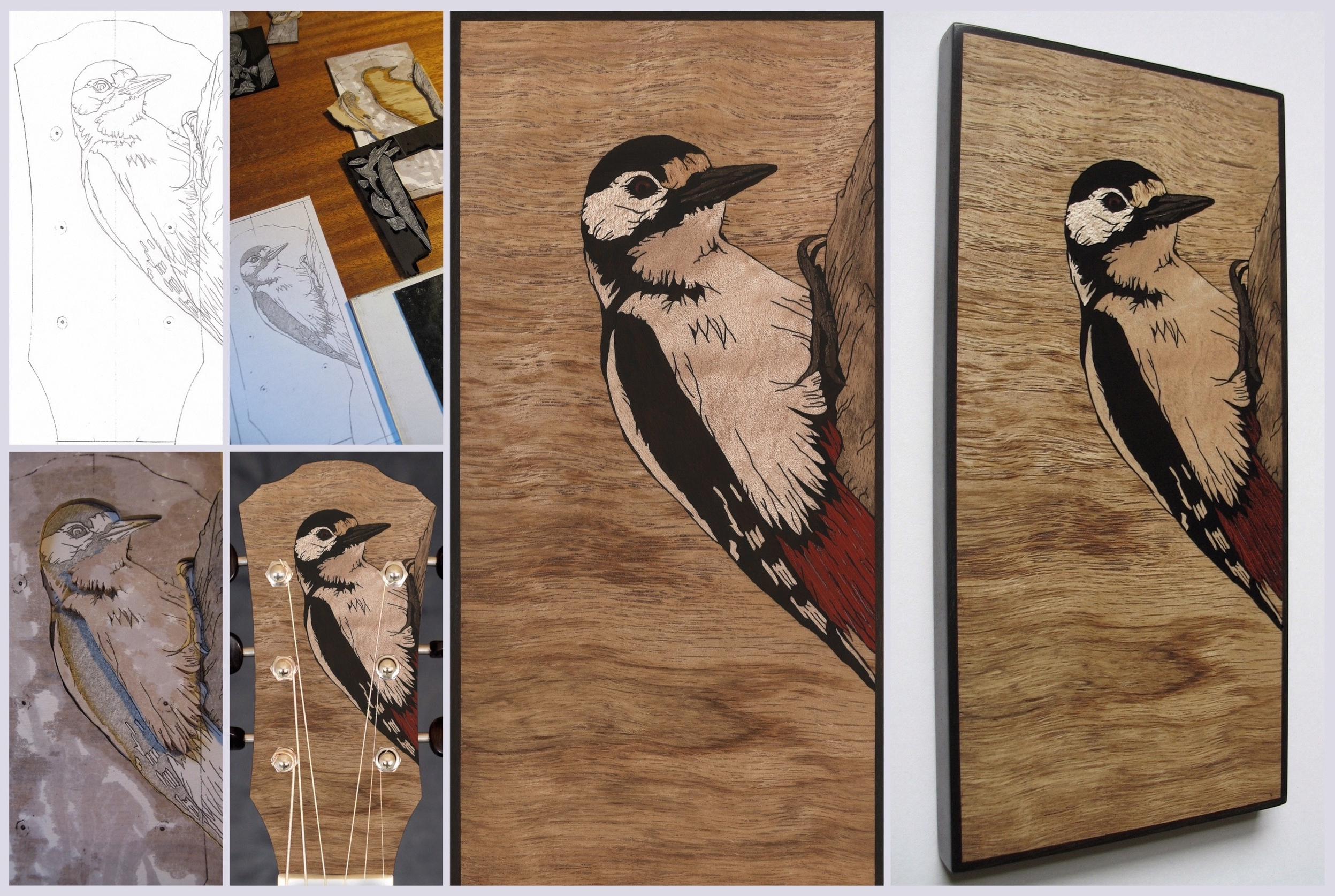 Great spotted woodpecker inlay