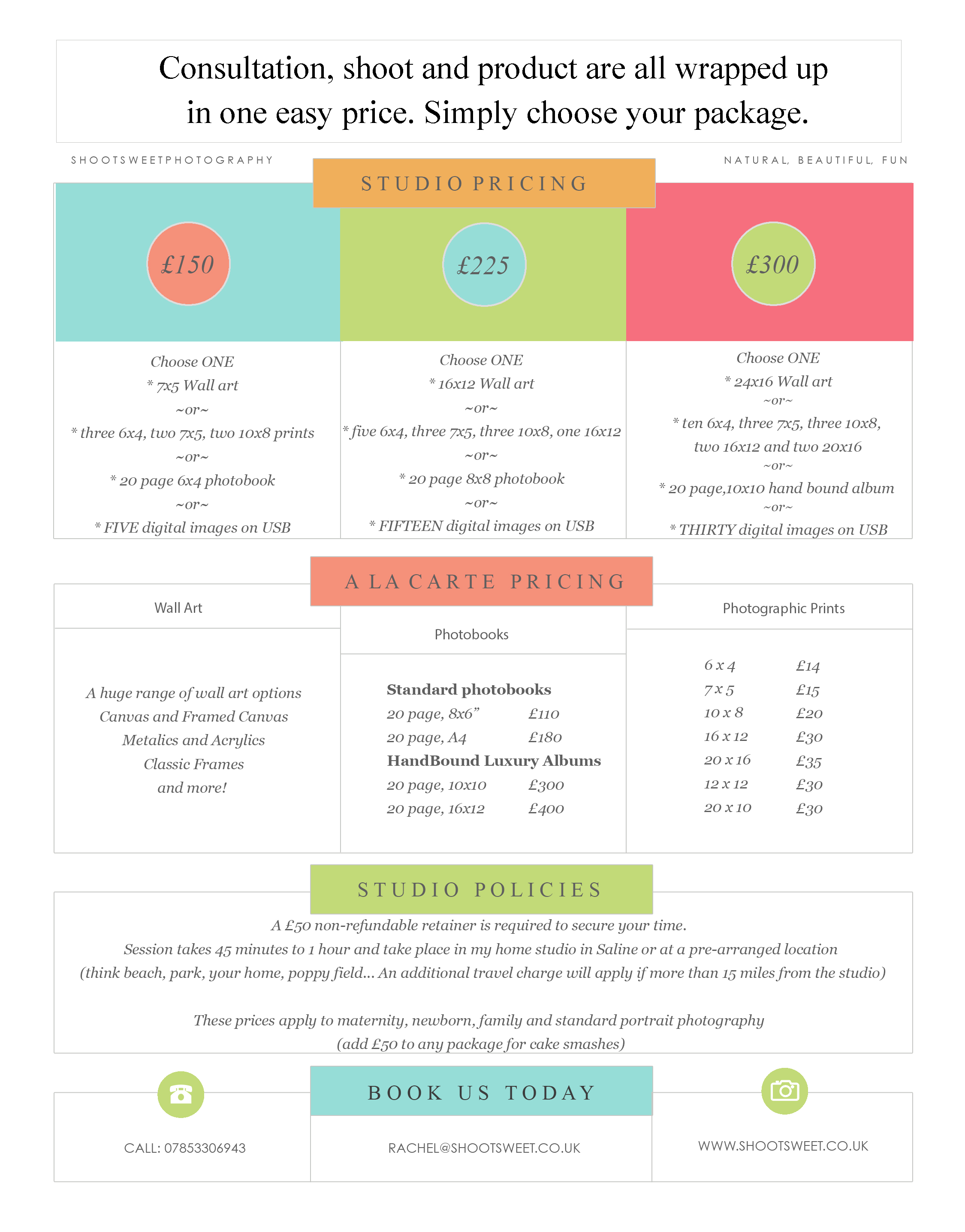 the portrait price list. Packages from £150 to £300