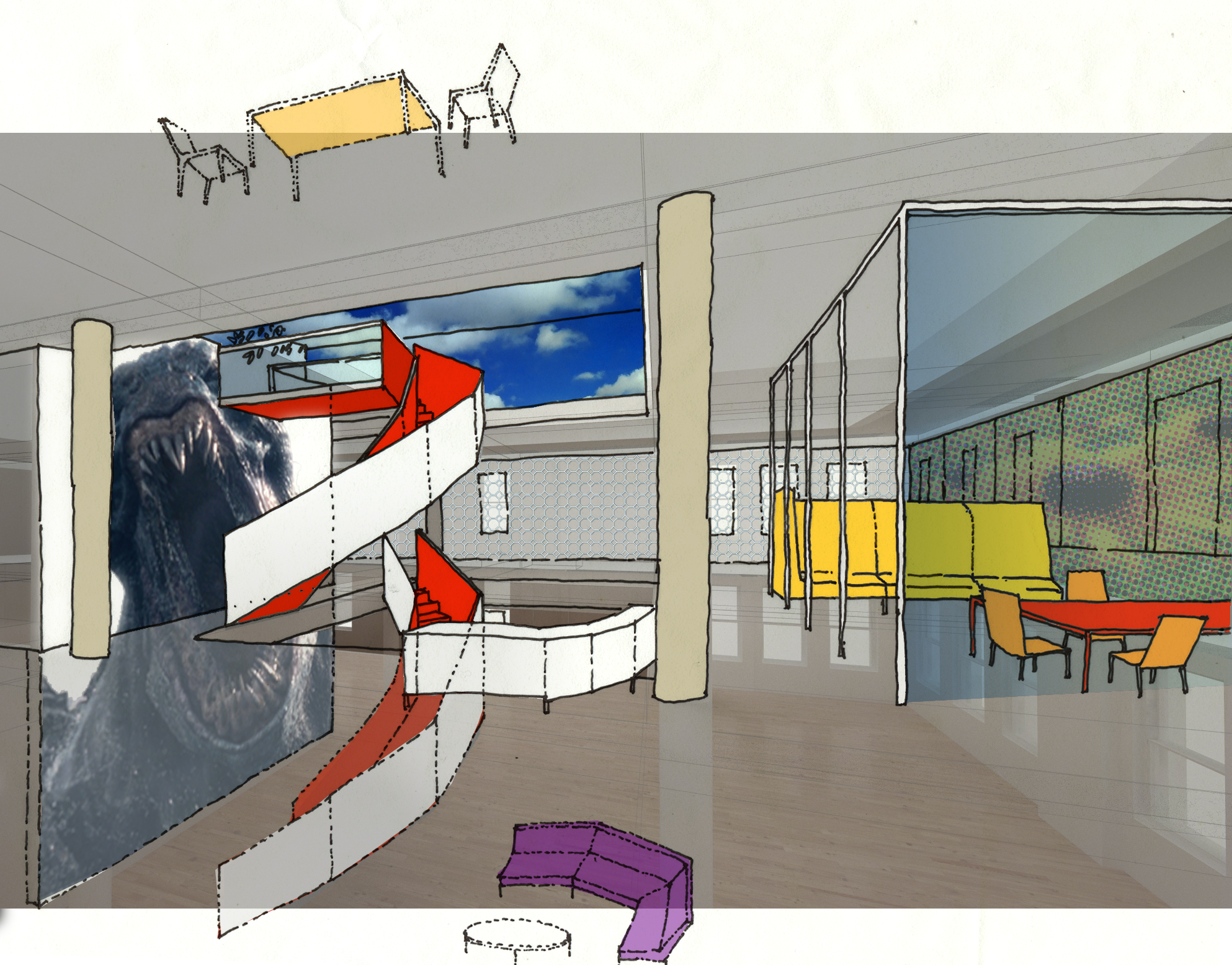ACHA, FX Studio, Central Staircase, Concept Sketch