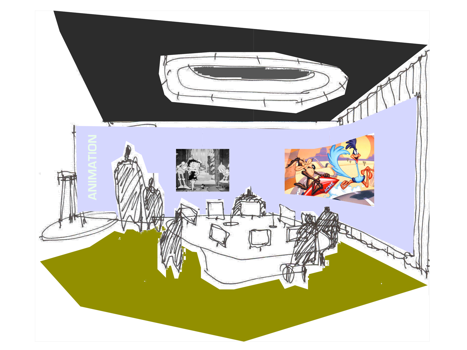 ACHA, ALI HOCEK, MUSEUM OF MOVING IMAGES, BEHIND THE SCREEN, CONCEPT SKETCH, QUEENS, NEW YORK