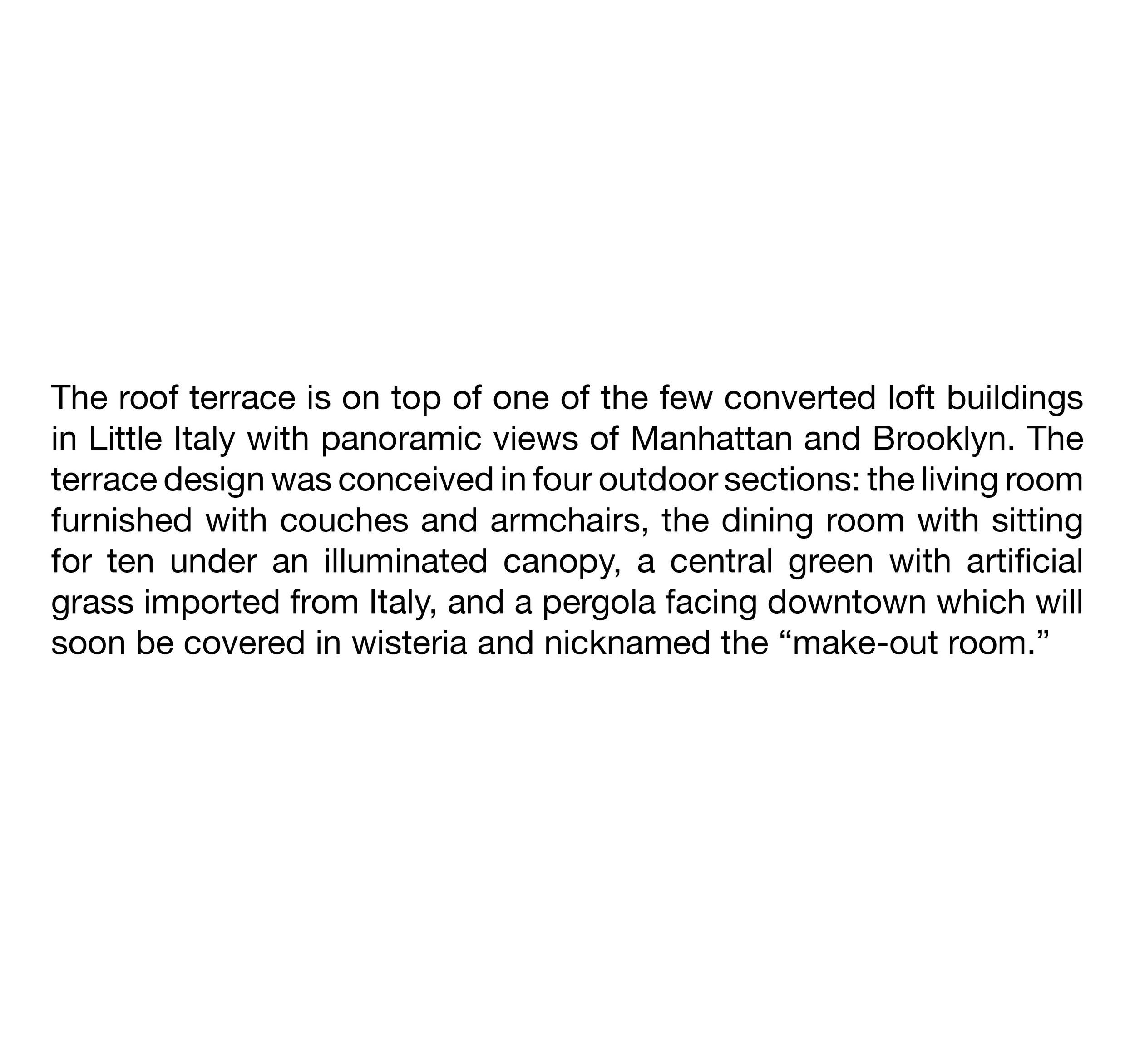 ACHA, Roof Terrace, Pergola, Canopy, 285 Lafayette Street,Little Italy, Manhattan, NYC