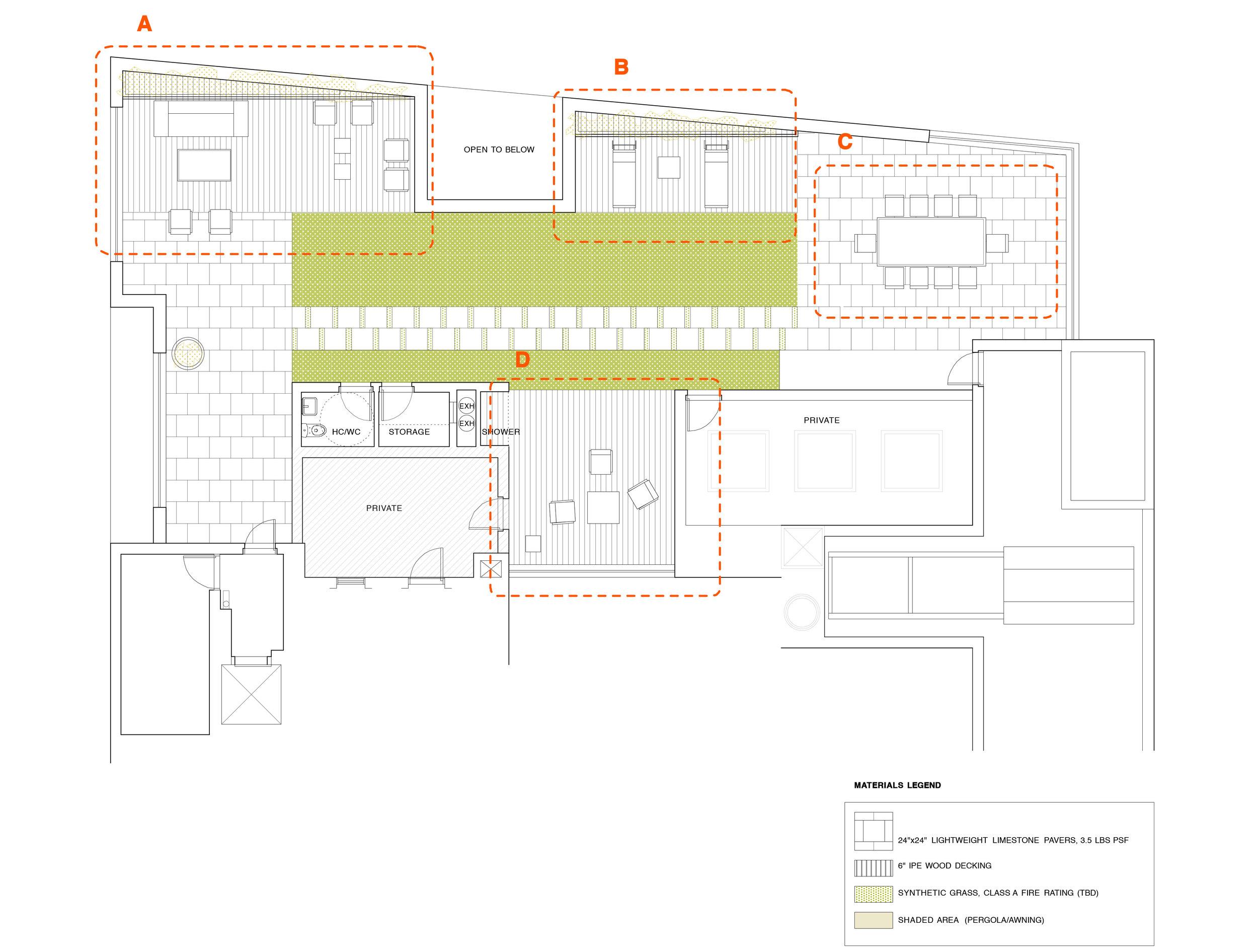 ACHA, Roof Terrace Plan, 285 Lafayette Street,SoHo, NYC