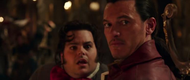 Lefou (Gad) and Gaston (Evans)