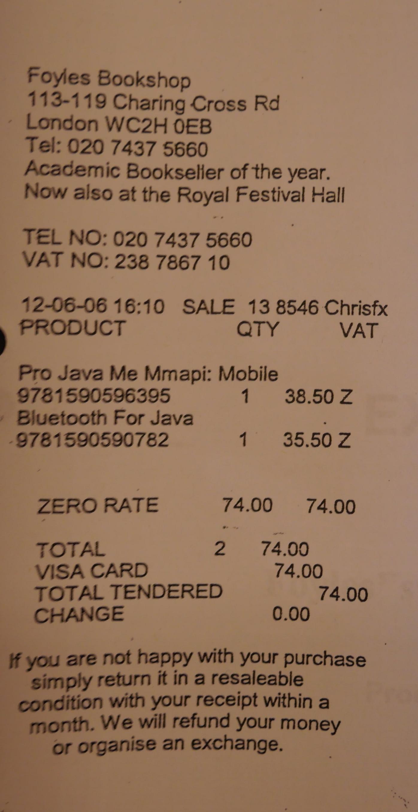 Foyles  receipt