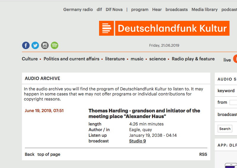 Deutschland Radio Kultur 19 June 2019