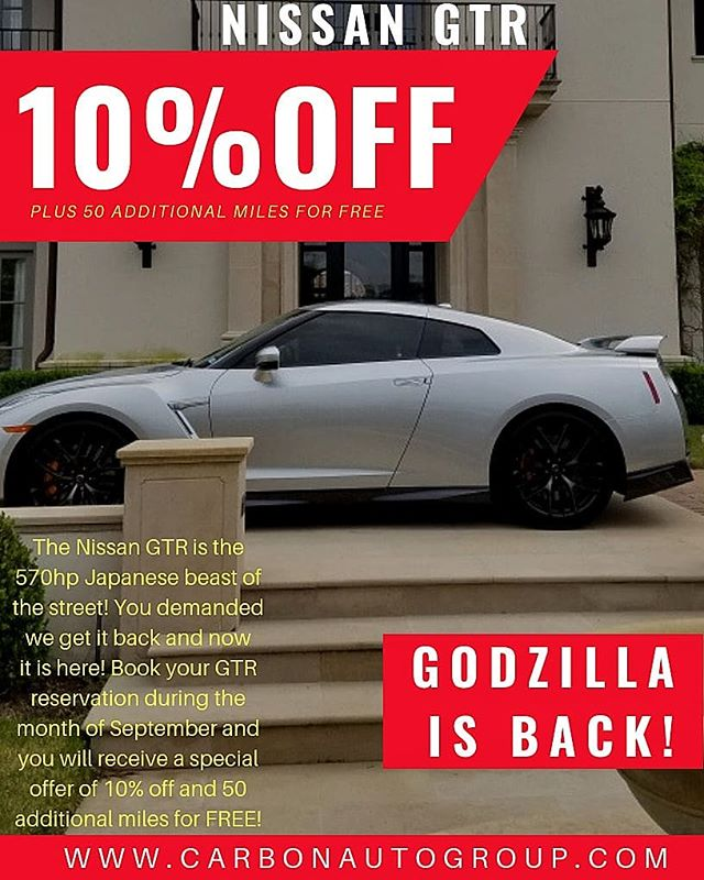 GODZILLA IS BACK! This month only receive 10% off and 50 additional miles for FREE when you book the Nissan GTR! Call 1.800.996.1960 📞 or visit www.CarbonAutoGroup.com 💻 #DreamItDriveIt #CarbonAutoGroup #exotic #car #rental #gtr #ferrari #458 #lamborghini #aventador #Huracan #selfie #fast #cars #Houston #thewoodlands #jet #jetlife #motivation #wedding #datenight