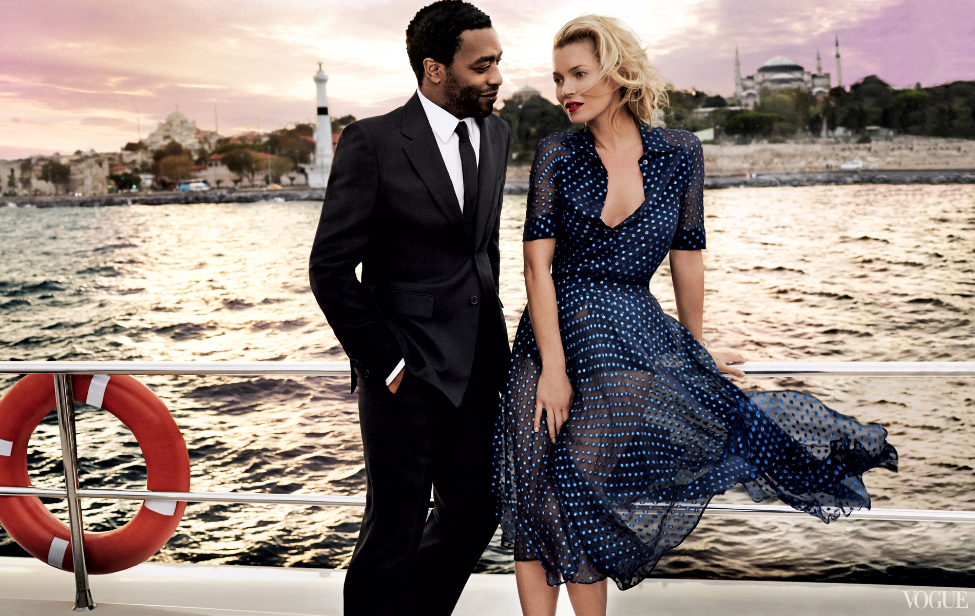 Vogue December 2013  Kate Moss & Chiwitel Ejiofor  Photographed by Mario Testino  Styled by Tonne Goodman